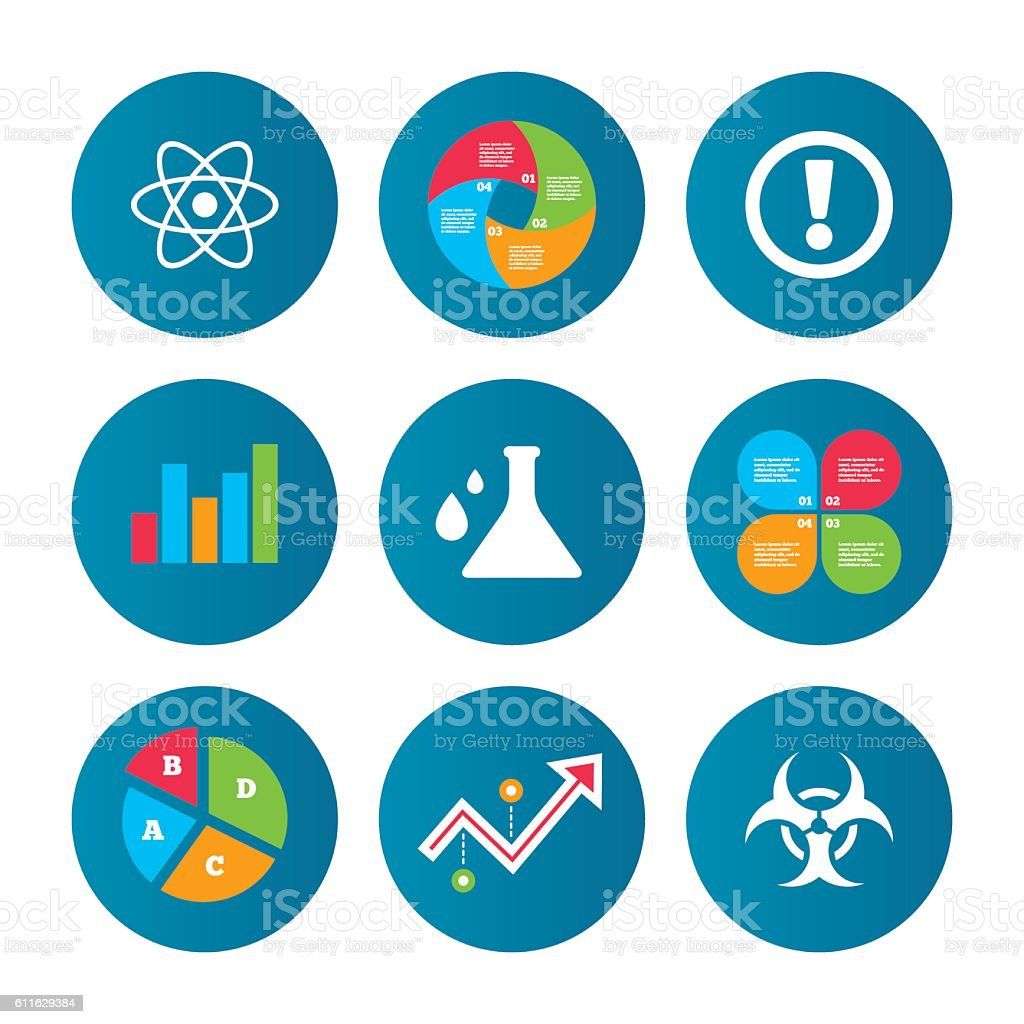 Attention biohazard icons. Chemistry flask. vector art illustration