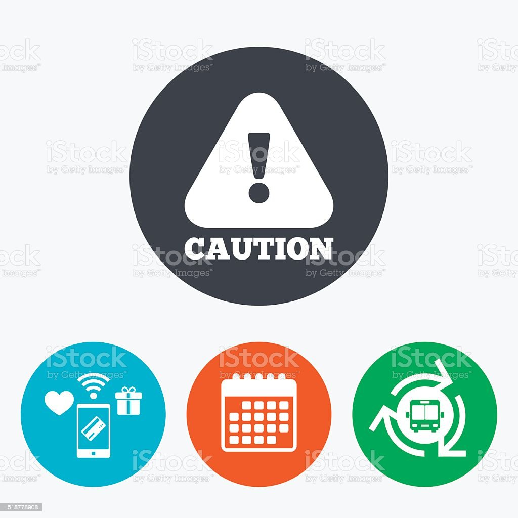 Attention caution sign icon. Exclamation mark. vector art illustration
