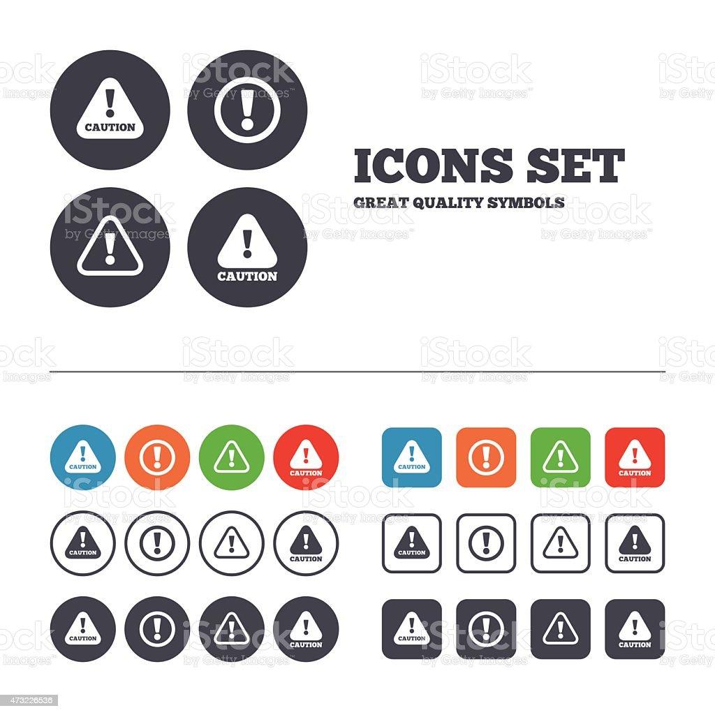 Attention caution signs. Hazard warning icons vector art illustration