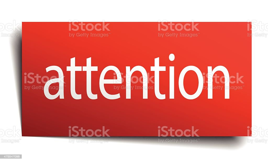 attention red paper sign isolated on white vector art illustration