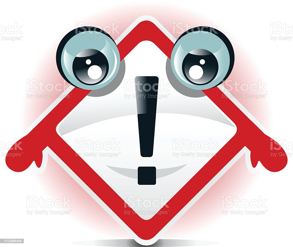 Attention warning sign character royalty-free stock vector art