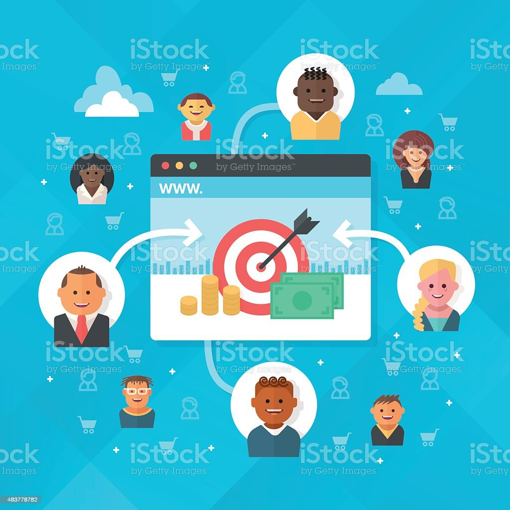Attracting Customers to Website vector art illustration