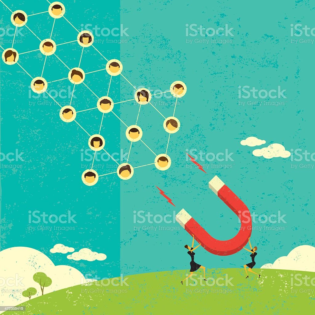 Attracting social networks as a retro graphic royalty-free stock vector art