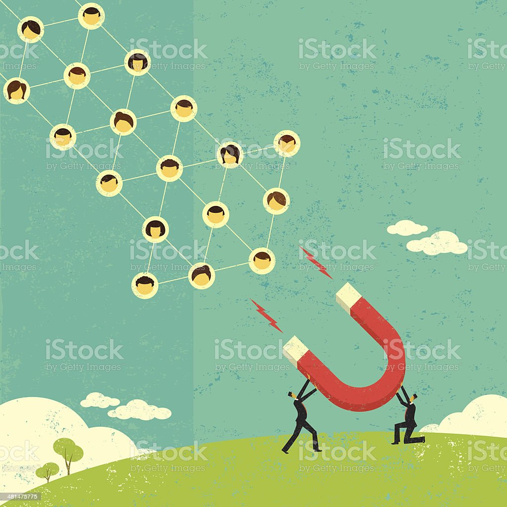 Attracting social networks royalty-free stock vector art