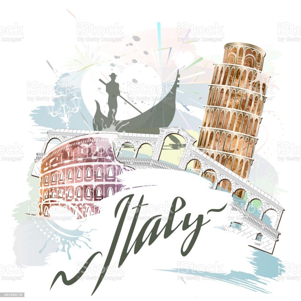Attractions Of Italy vector art illustration