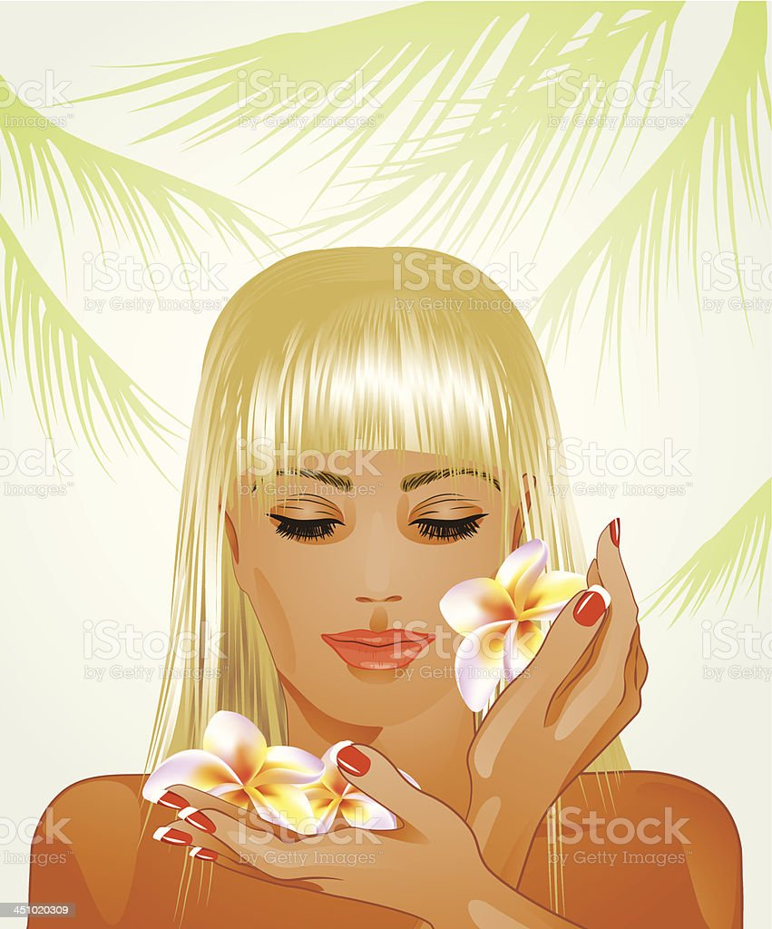 attractive blond woman with frangipani flowers royalty-free stock vector art