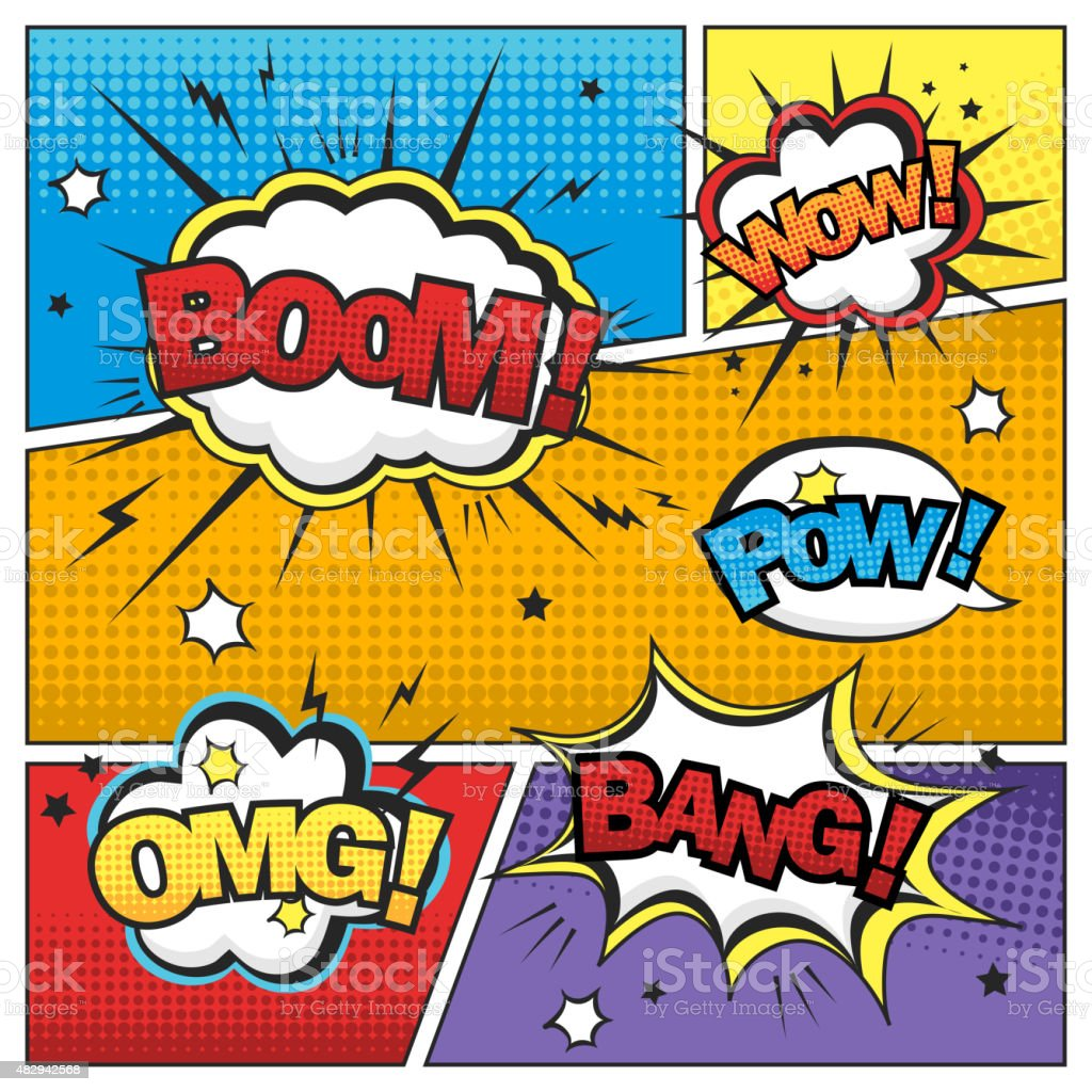 attractive comic sound effect set vector art illustration