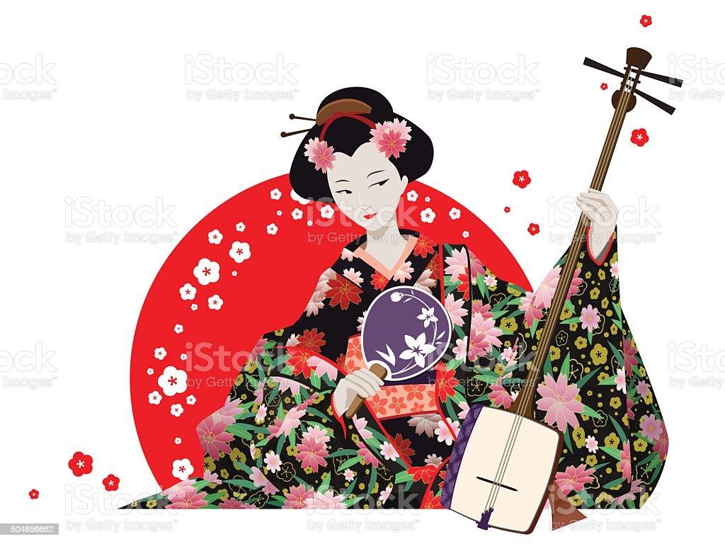 Attractive Geisha Wearing Kimono With Fan And Shamisen. vector art illustration