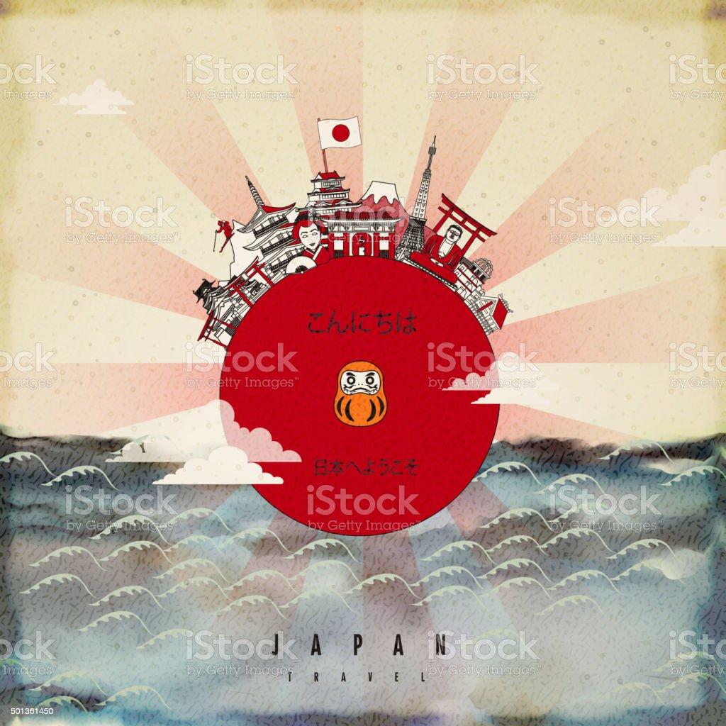 attractive Japan travel poster design vector art illustration