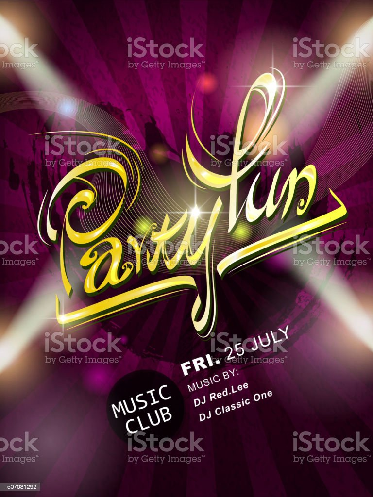 attractive Party fun calligraphy poster design vector art illustration