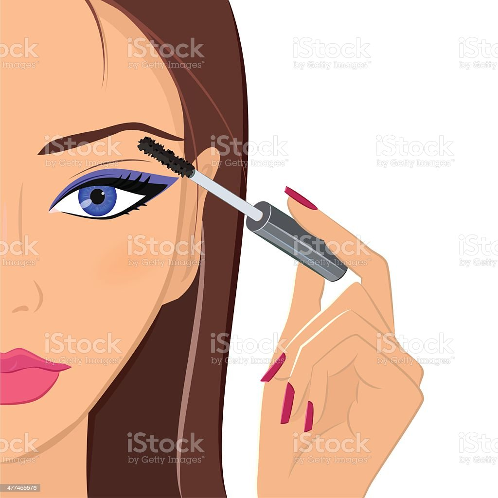 Attractive woman applying mascara. Fashion, makeup and beauty co vector art illustration