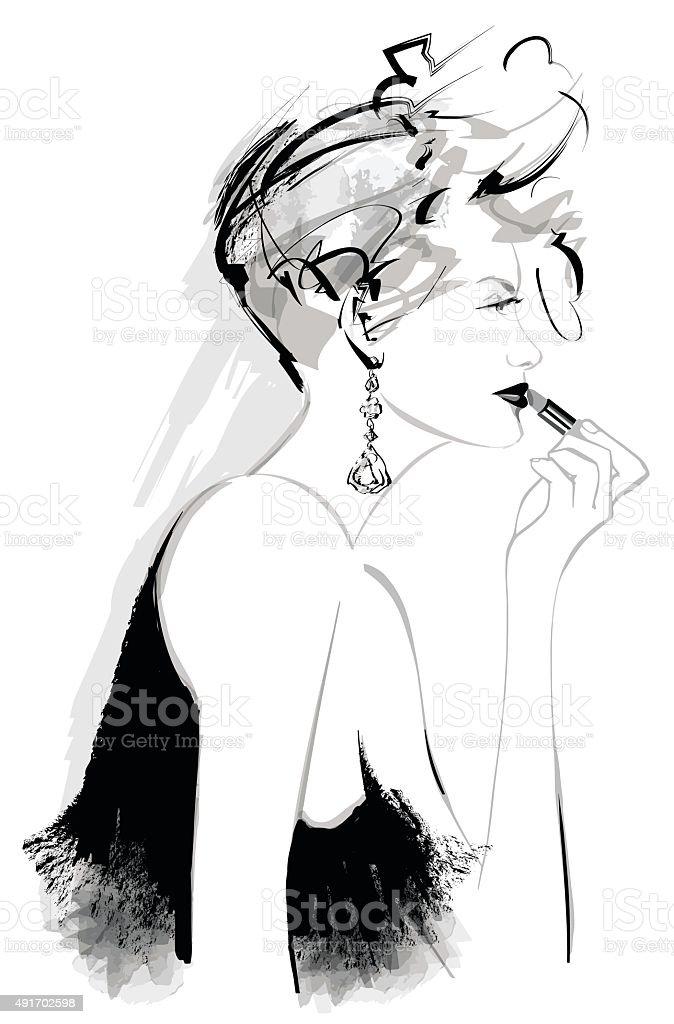 Attractive woman fashion model applying lipstick vector art illustration