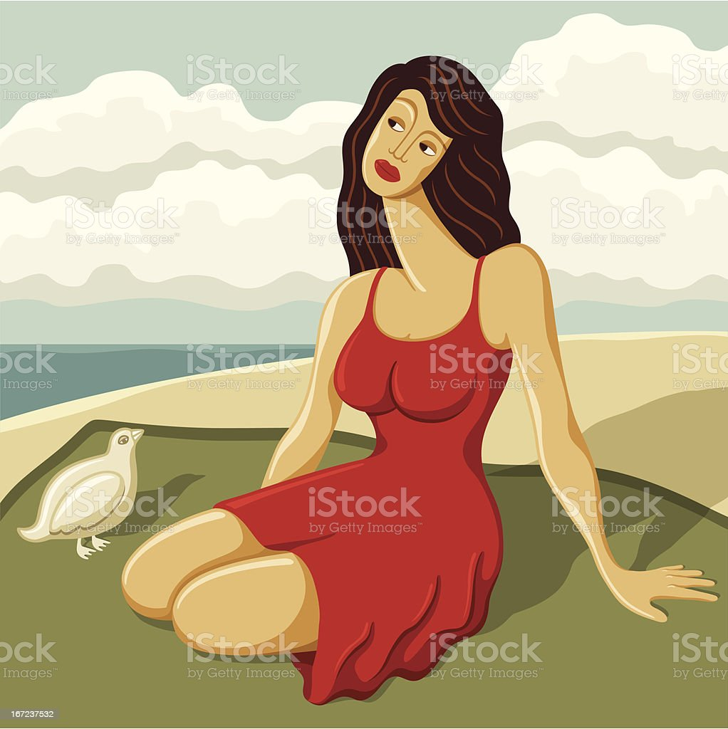 Attractive Woman Sitting on Blanket at Beach vector art illustration