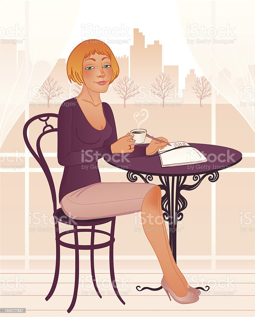 Attractive young woman in sidewalk Cafe vector art illustration