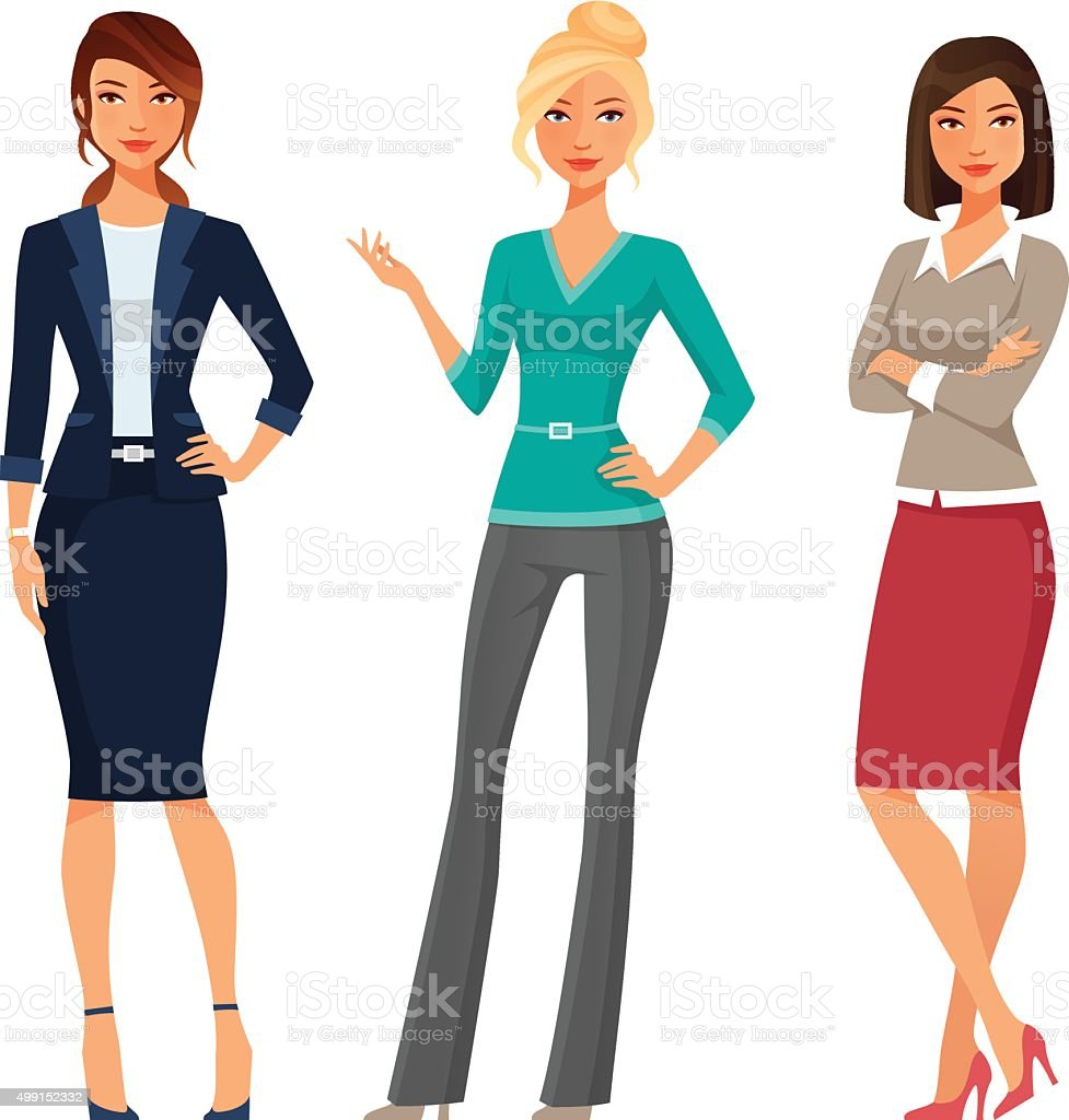 attractive young women in elegant office clothes vector art illustration