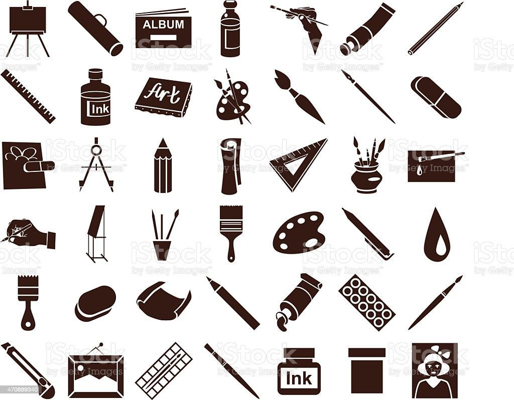 attributes of art icons on white vector art illustration