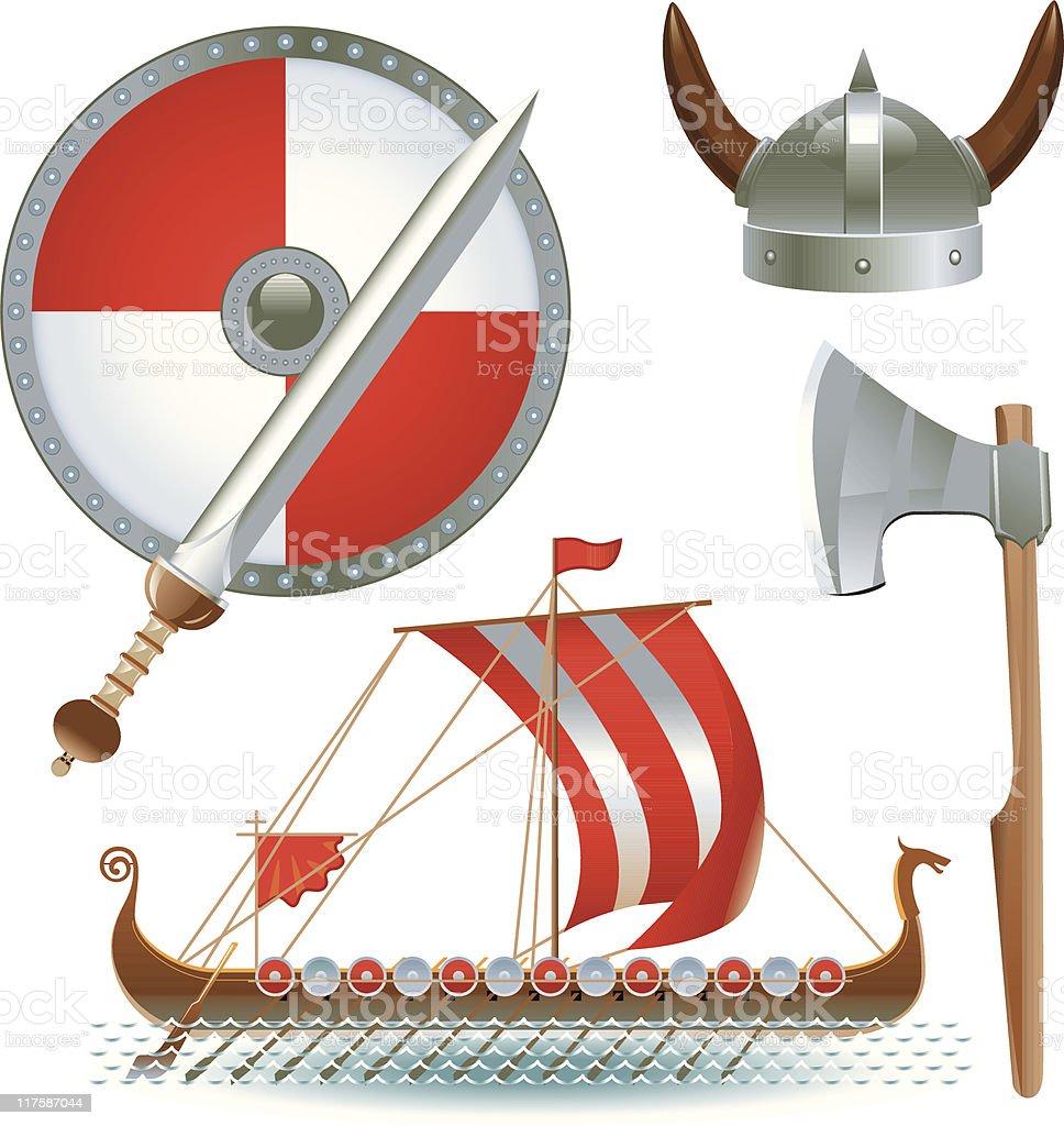 Attributes Vikings vector art illustration