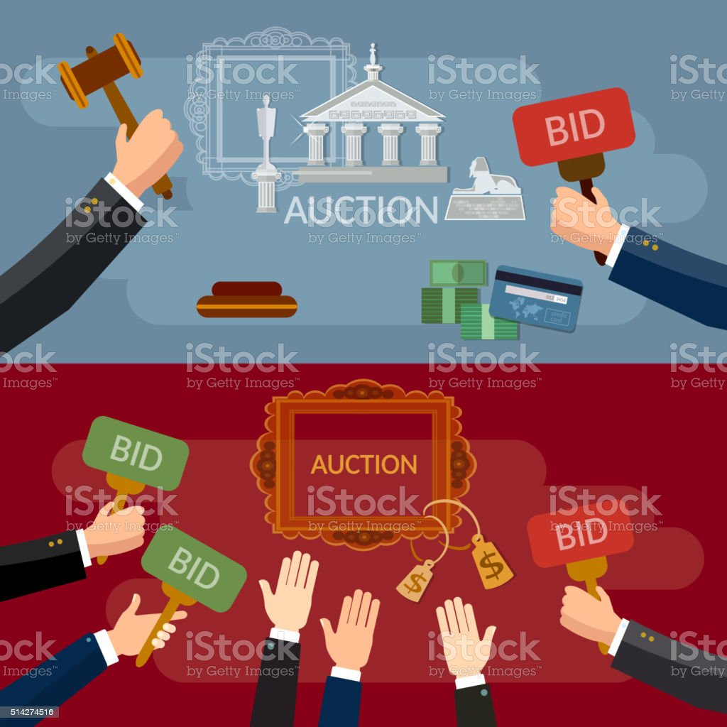 Auction and bidding banners sale antiques art vector art illustration
