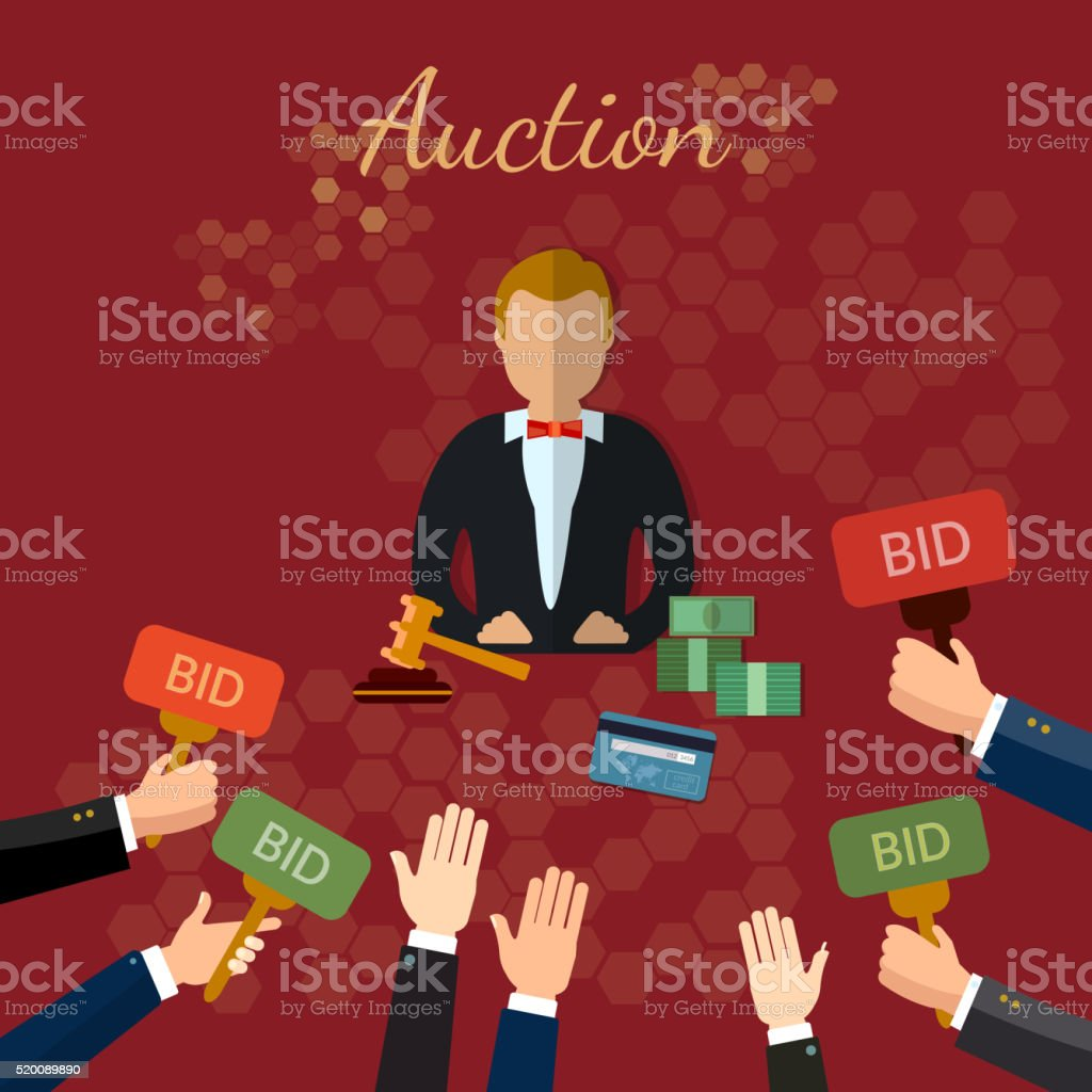 Auction and bidding concept vector illustration vector art illustration