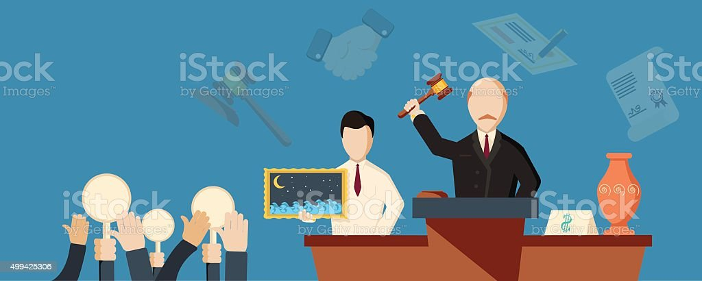 Auction and bidding horizontal banner vector art illustration