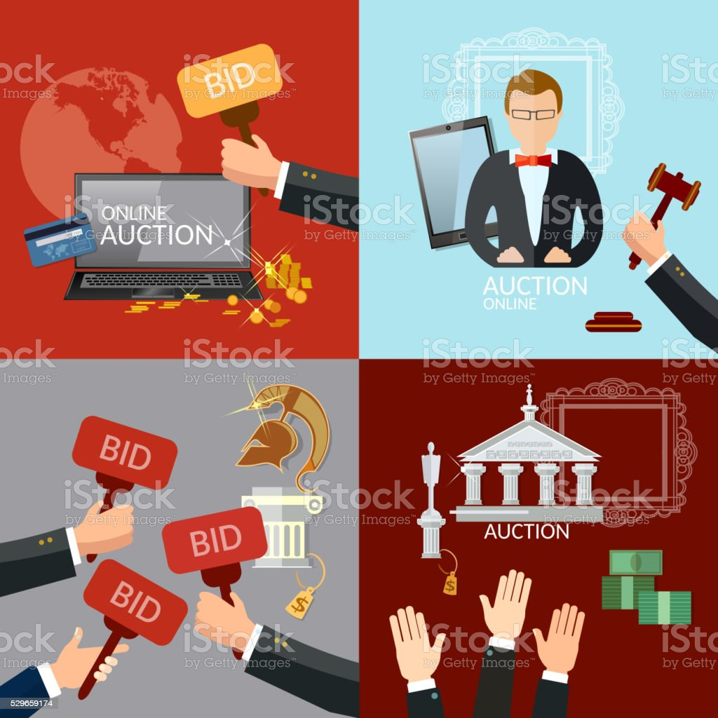 Auction and bidding set selling antiques vector art illustration