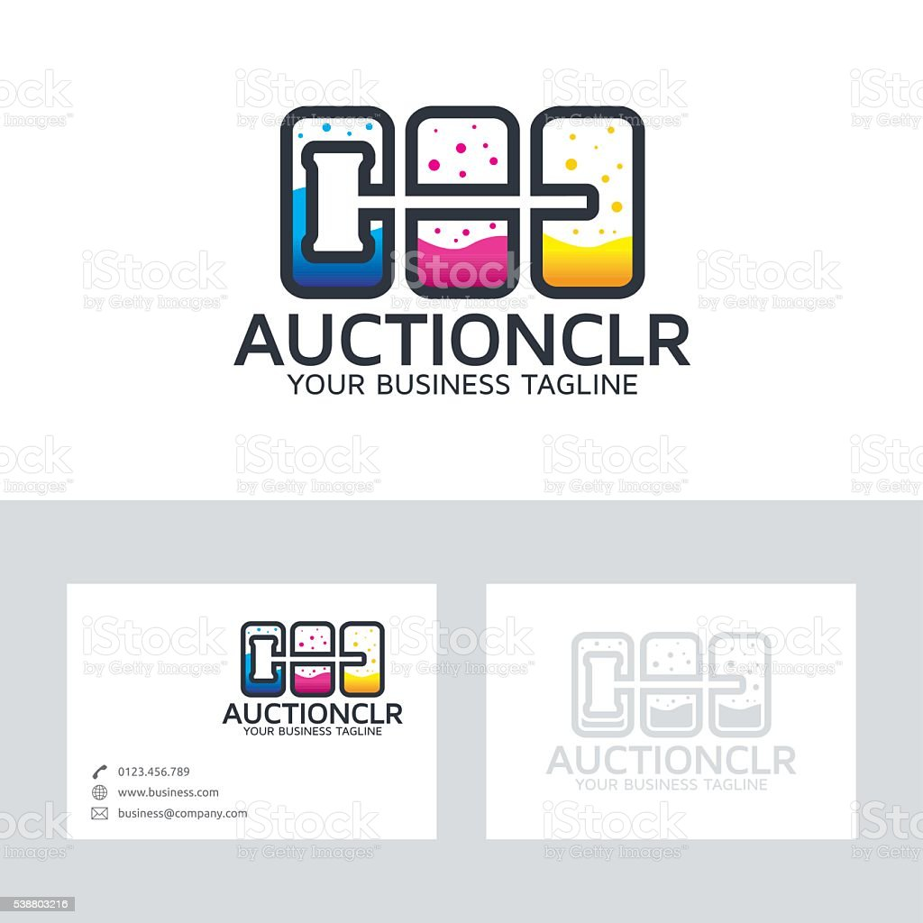 Auction color vector logo with business card template vector art illustration