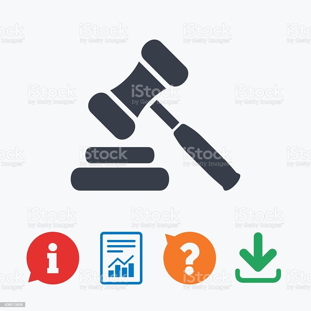 Auction hammer icon. Law judge gavel symbol. vector art illustration