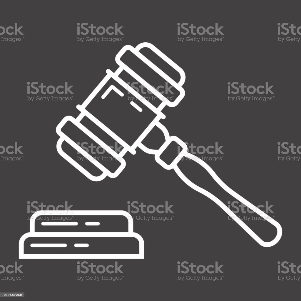 Auction hammer line icon, business and finance, judge gavel sign vector graphics, a linear pattern on a black background, eps 10. vector art illustration