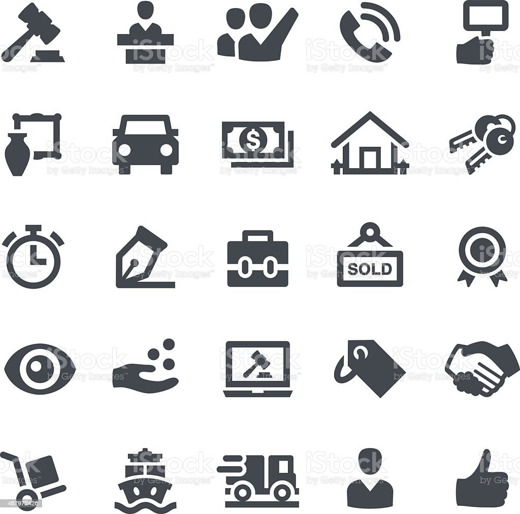 Auction Icons vector art illustration