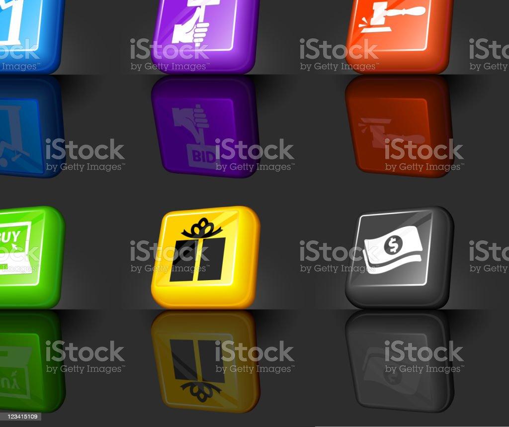 Auction internet royalty free vector icon set vector art illustration