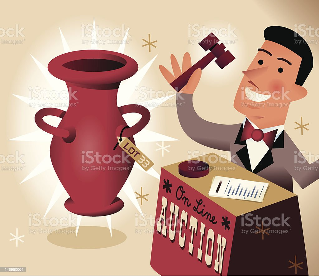 Auctioneer vector art illustration