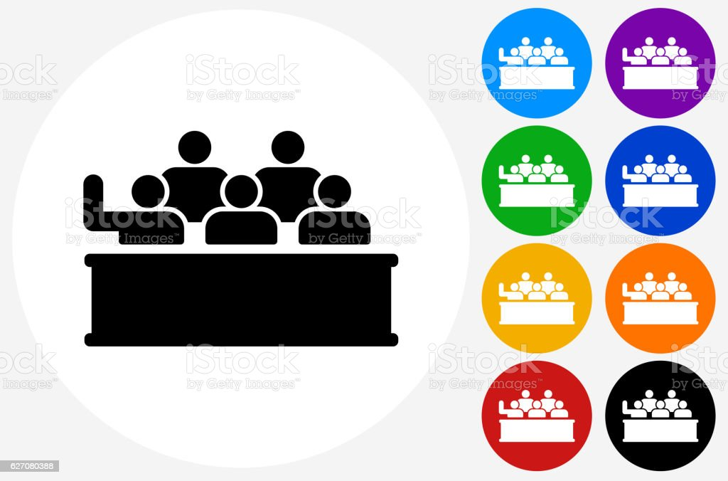 Audience Icon on Flat Color Circle Buttons vector art illustration