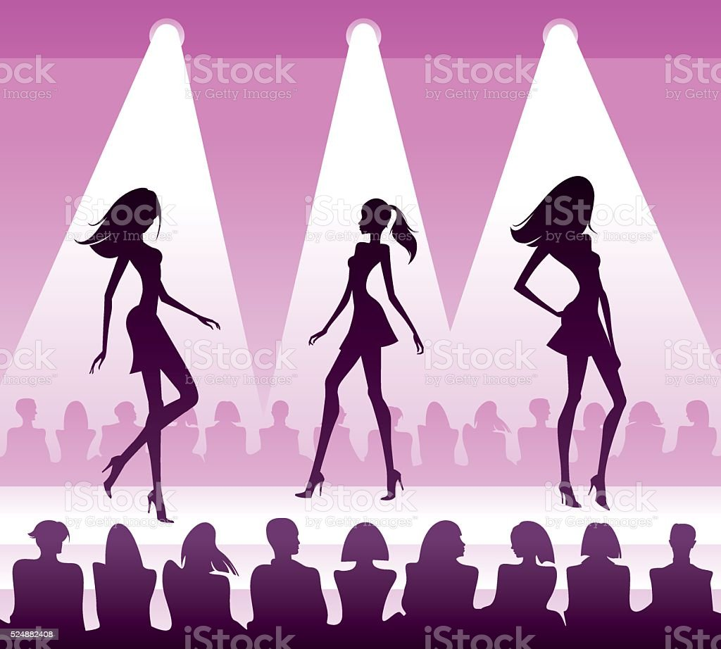 Audience see new clothes at fashion review vector art illustration