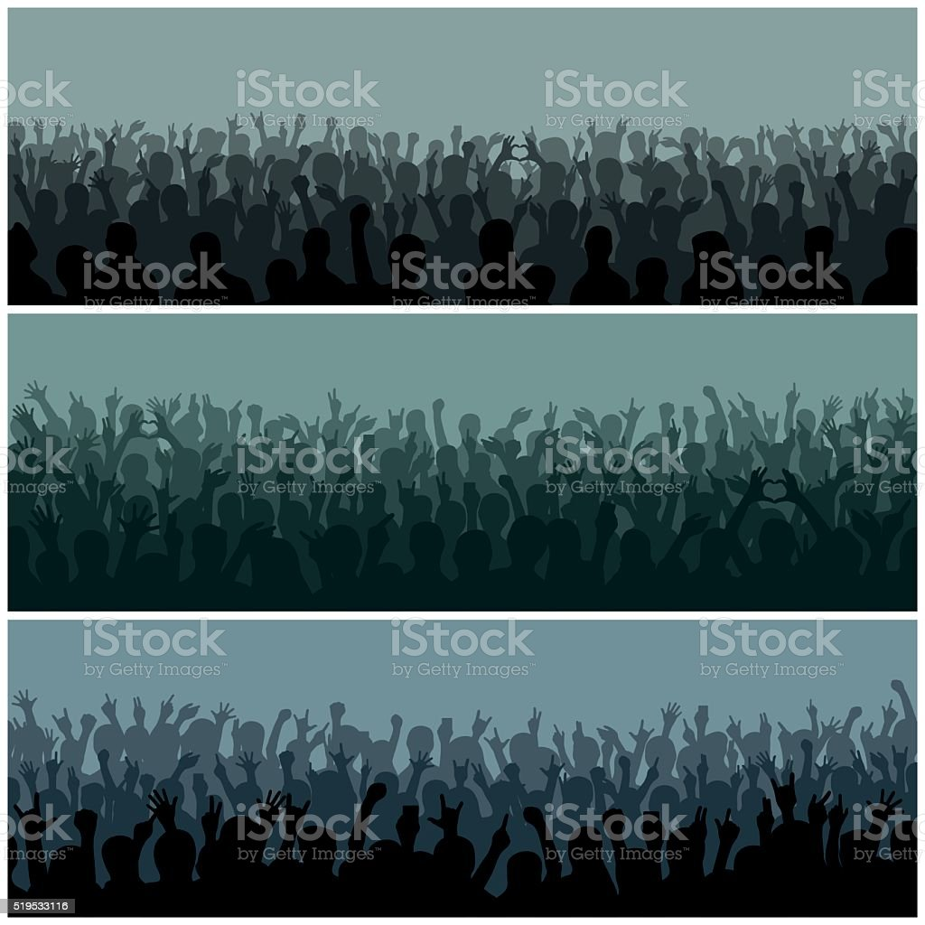 Audience with hands silhouette raised music festival and concert streaming vector art illustration