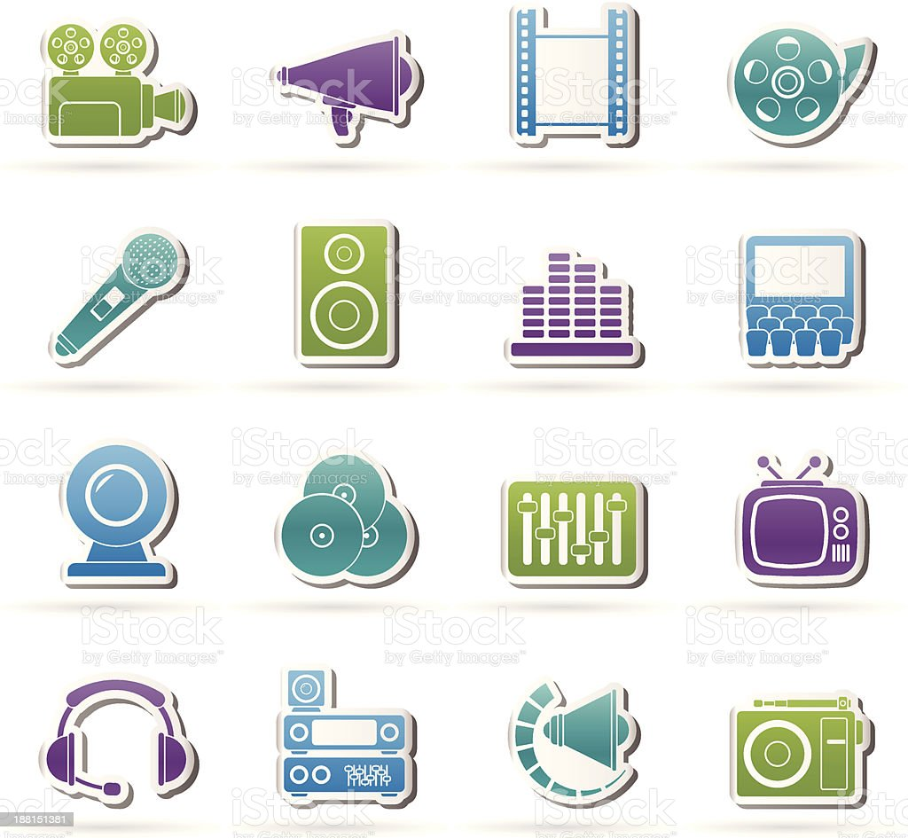 Audio and video icons royalty-free stock vector art