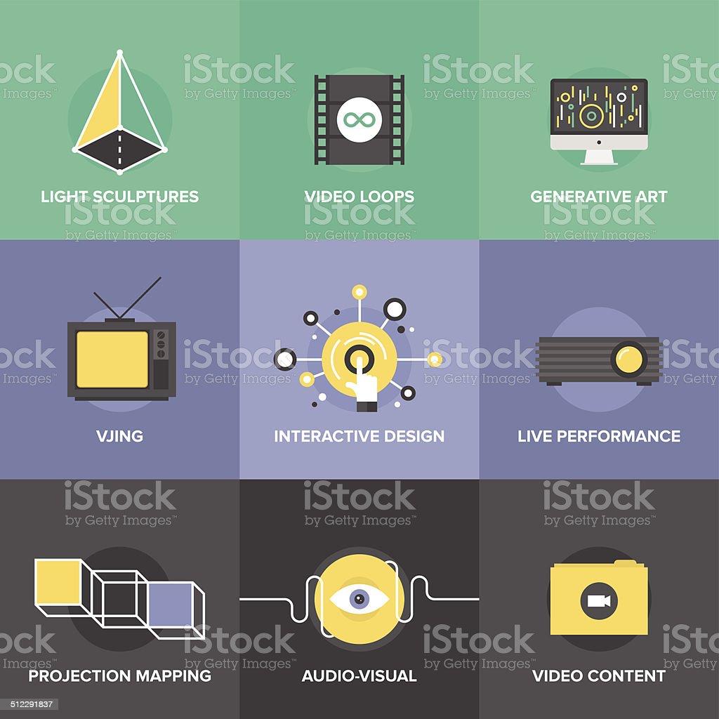 Audio and visual art flat design icons vector art illustration