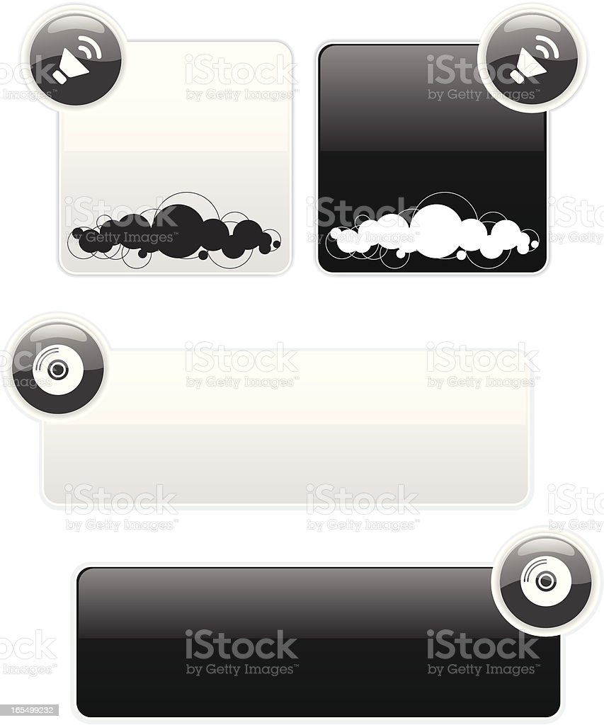 audio banners and blurbs royalty-free stock vector art