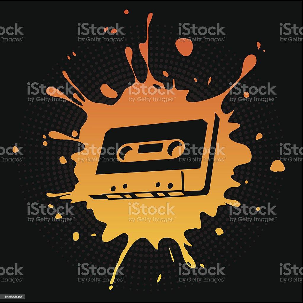 Audio Cassette Splat royalty-free stock vector art