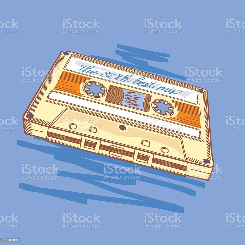 Audio cassette vector art illustration