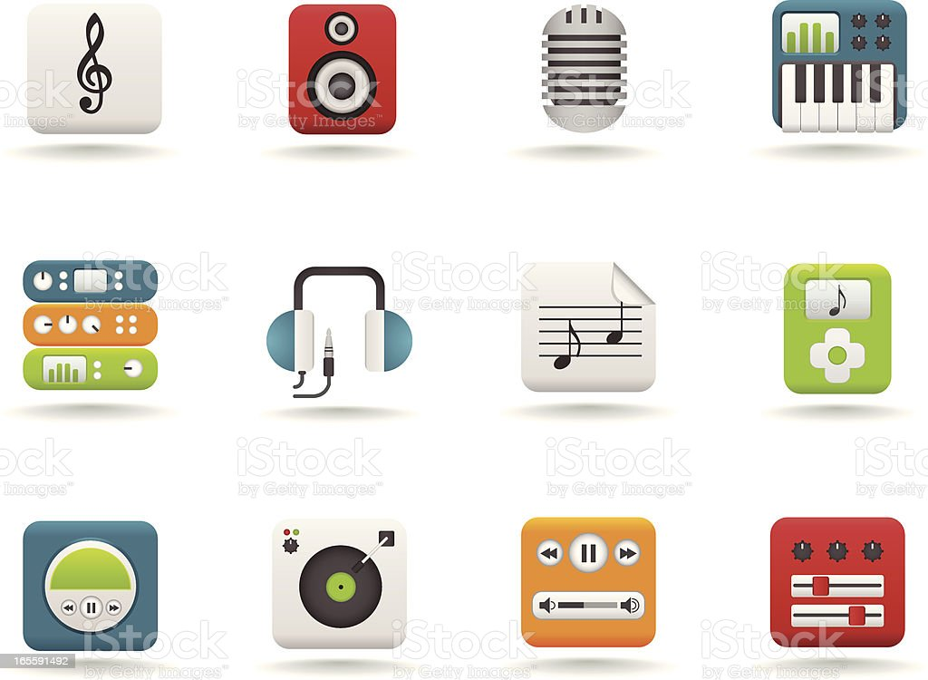 Audio Icon Set : Matte Series vector art illustration