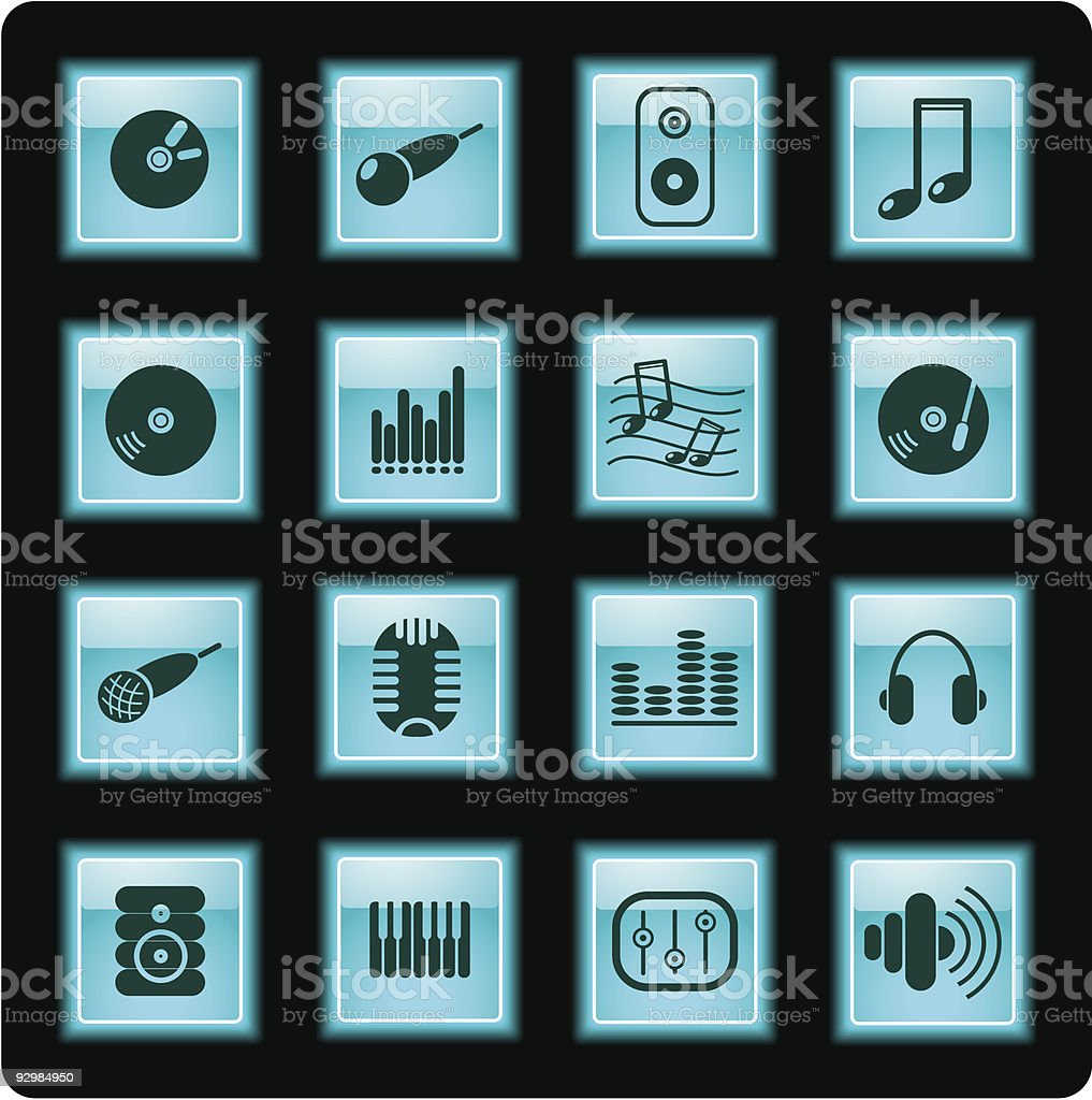 Audio icons royalty-free stock vector art