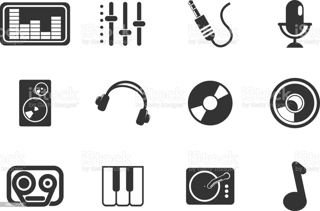 Audio & music simple vector icons royalty-free stock vector art