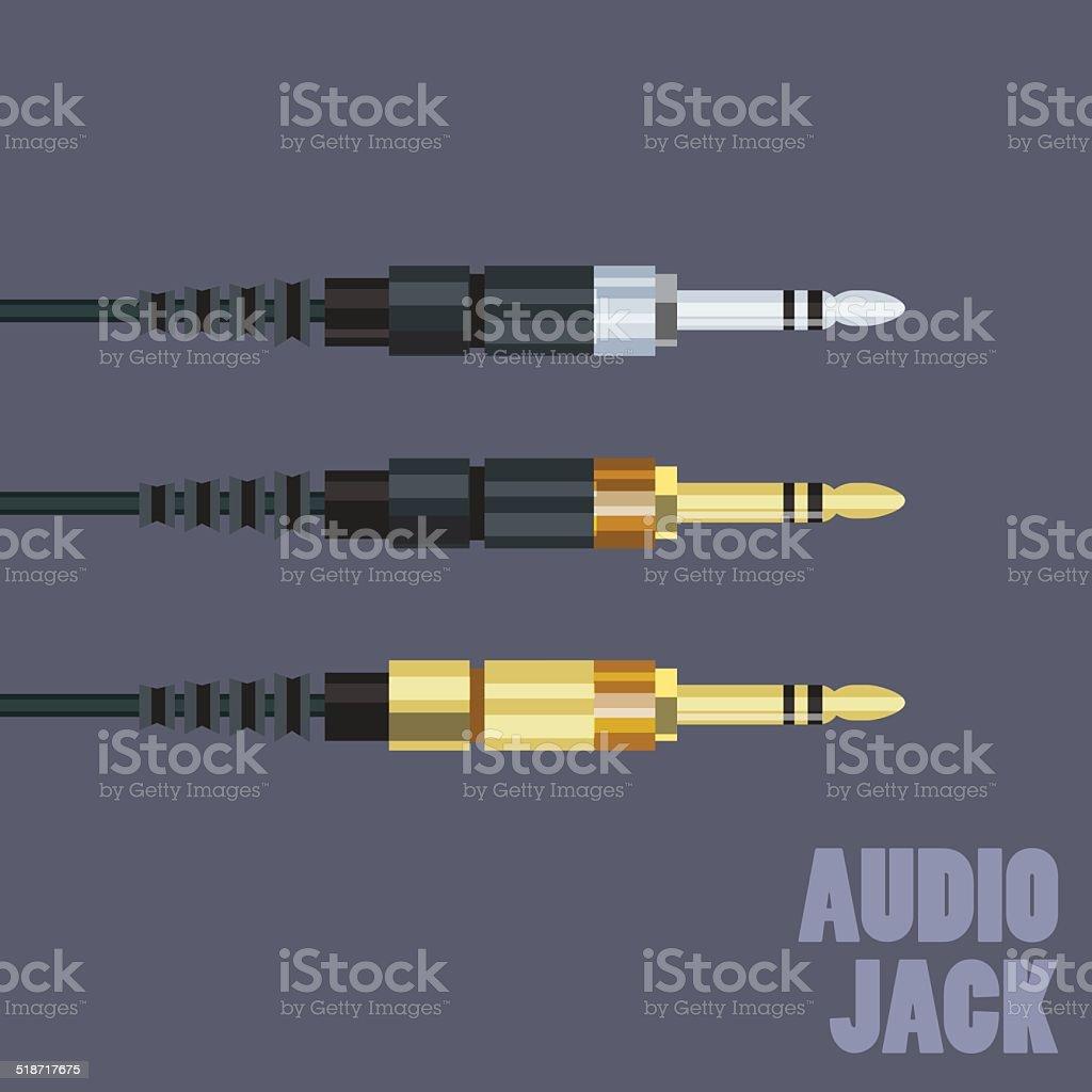 Audio plug for connection sound equipment - vector illustration vector art illustration