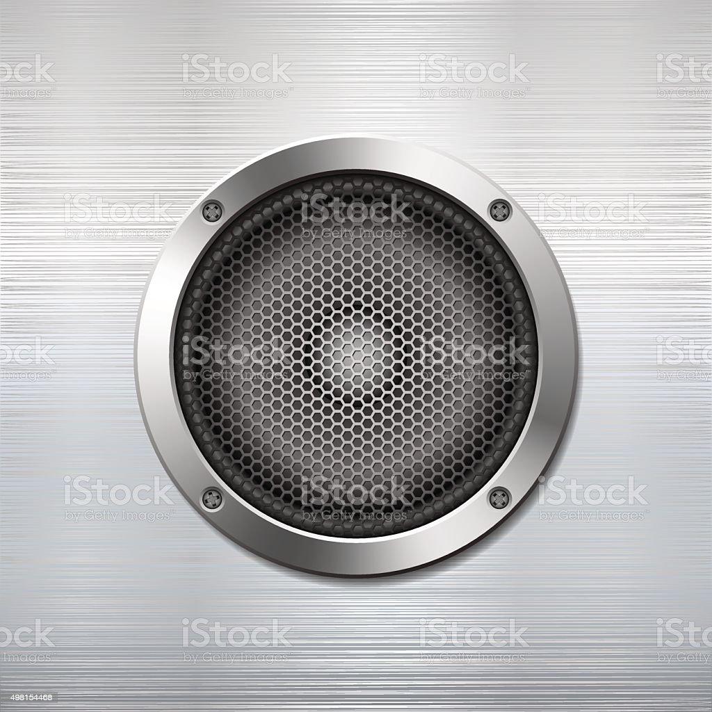 Audio speaker on metallic background. vector art illustration