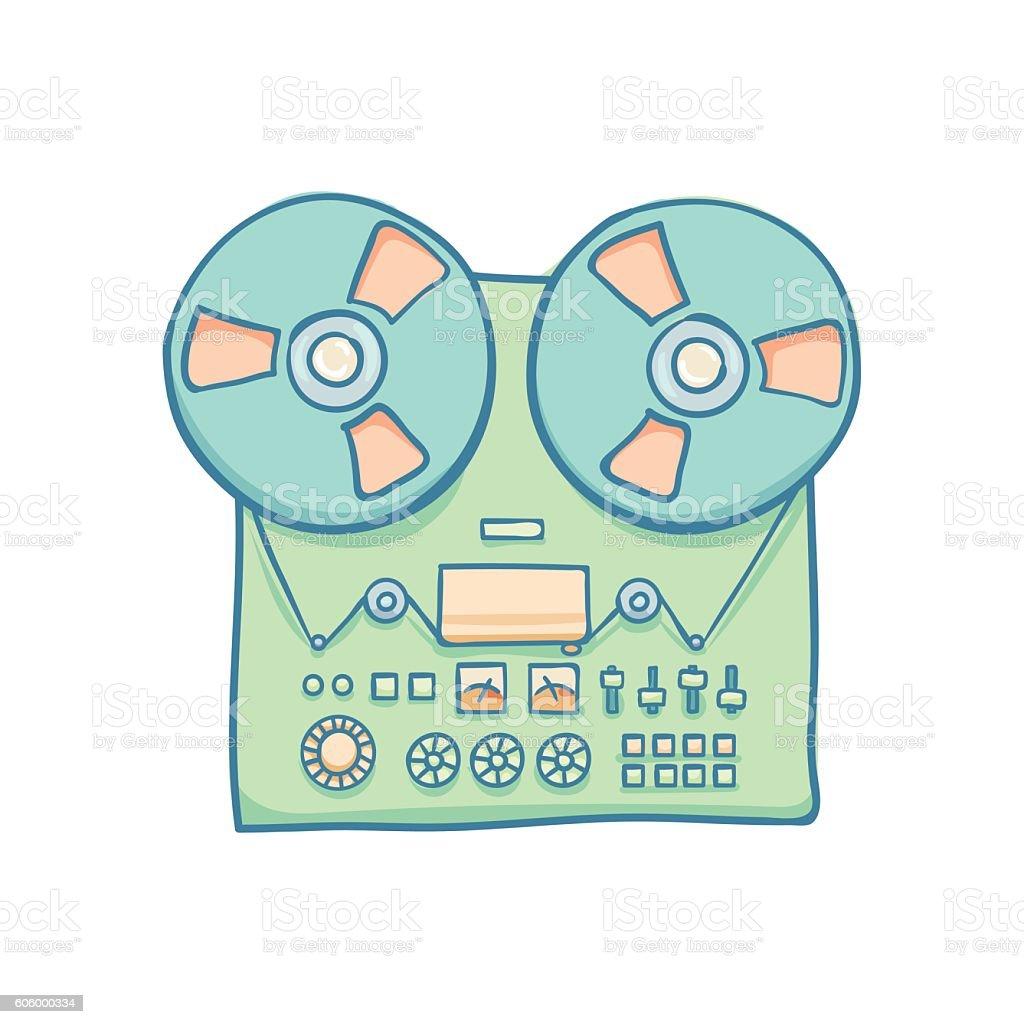Audio Tech Isolated vector art illustration