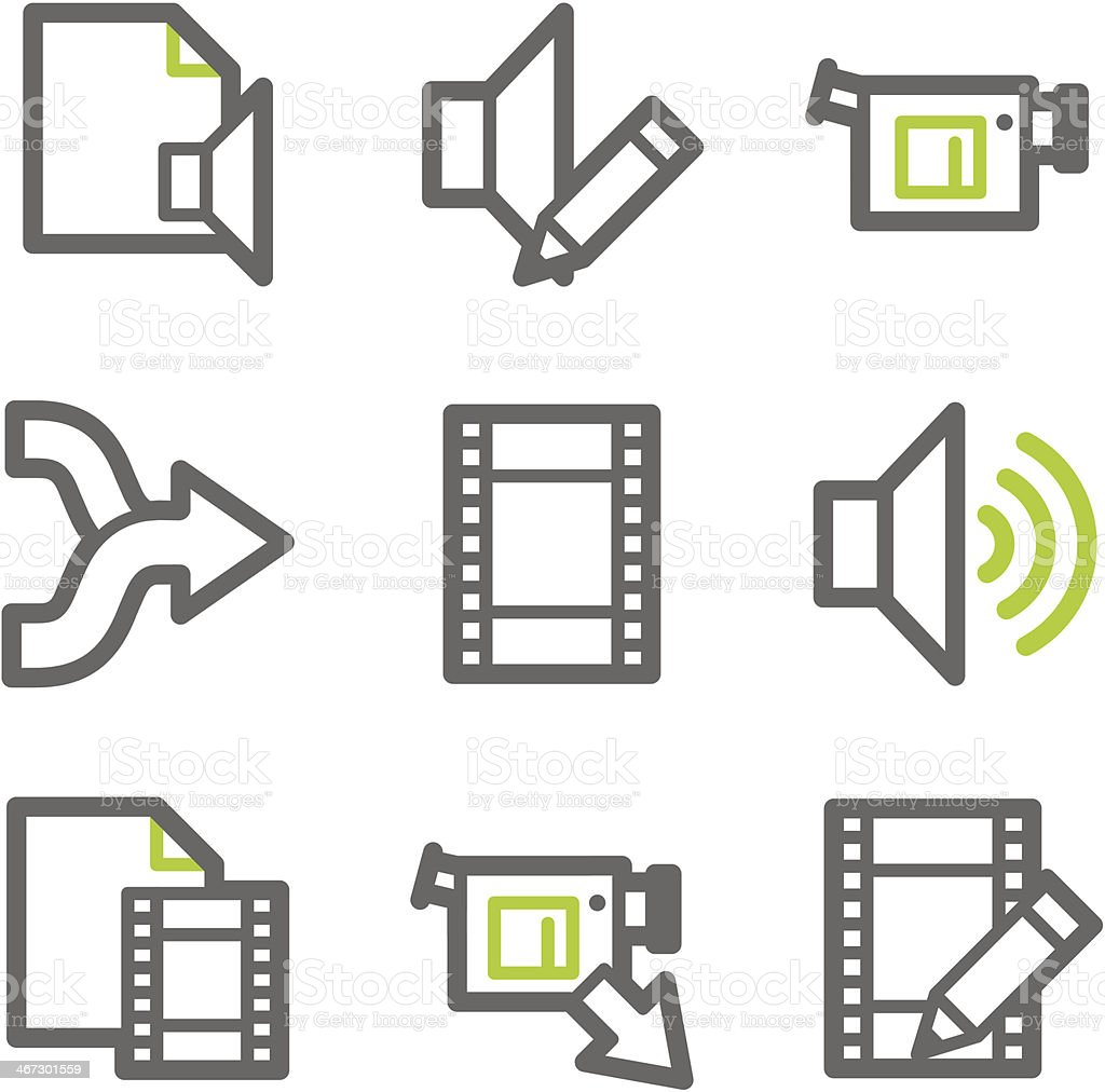 Audio video edit web icons green and gray contour series stock audio video edit web icons green and gray contour series royalty free stock vector ccuart Images