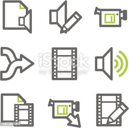 Audio video edit web icons green and gray contour series stock audio video edit web icons green and gray contour series stock vector art 467301559 istock ccuart Images