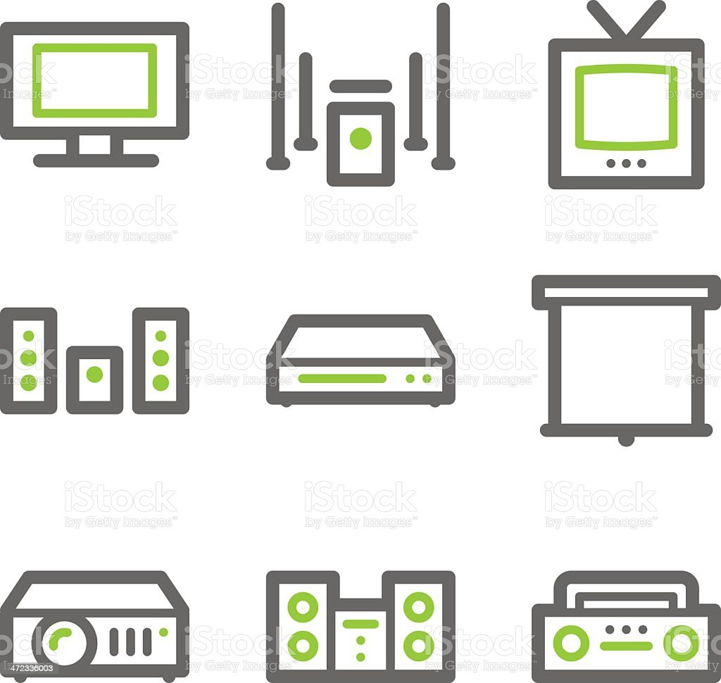 Audio video web icons, green and gray contour series royalty-free stock vector art