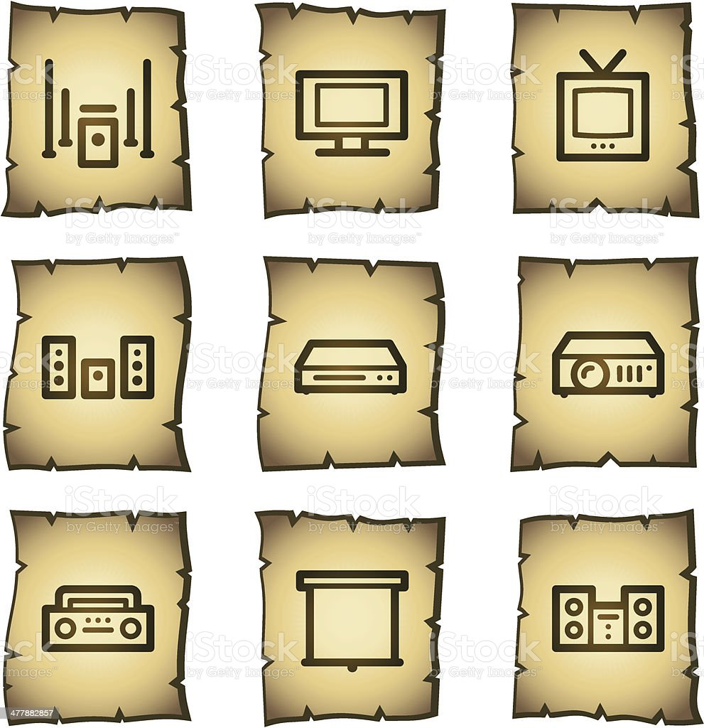 Audio video web icons, papyrus series royalty-free stock vector art