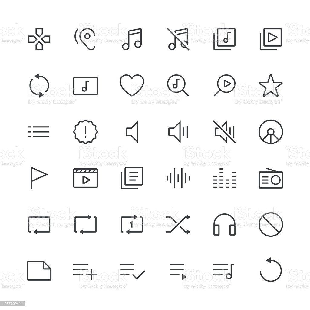 Audio Visual icons set 2   Thin Line serie vector art illustration